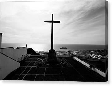 Cross Atop Old Chapel In Village  Canvas Print