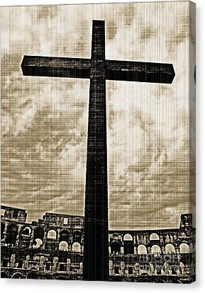 Canvas Print featuring the photograph Cross Colosseum Rome - Old Photo Effect by Cheryl Del Toro