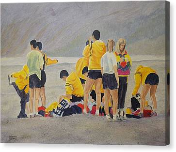 Canvas Print featuring the painting Cross Country Beach Run by Richard Faulkner