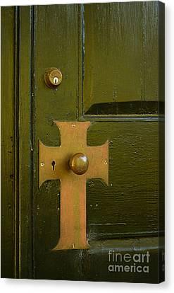 Cross Door Plate Canvas Print by Bob Sample