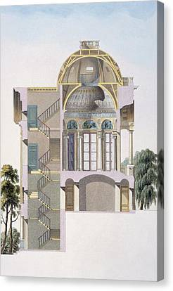 Cross Section Of The Pavilion Canvas Print by Pierre Jacques Goetghebuer