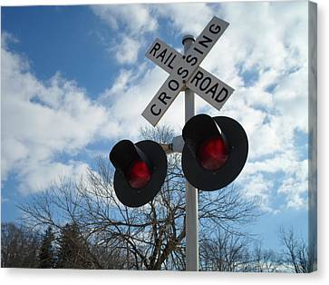 Cross The Railroad Canvas Print by Jenna Mengersen