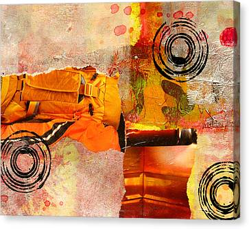 Cross Town Bus Abstract Collage Painting Canvas Print by Nancy Merkle