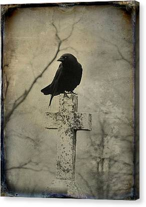 Crow On A Crooked Old Cross Canvas Print by Gothicrow Images