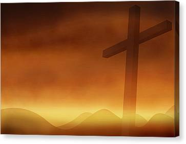 Cross With The Sunset  Background Canvas Print by Somkiet Chanumporn