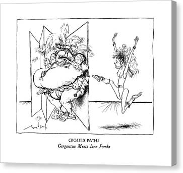 Crossed Paths Gargantua Meets Jane Fonda Canvas Print by Ronald Searle