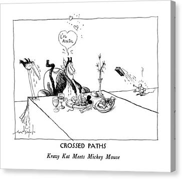 Crossed Paths Krazy Kat Meets Mickey Mouse Canvas Print