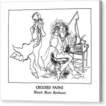 Munch Canvas Print - Crossed Paths Munch Meets Beethoven by Ronald Searle