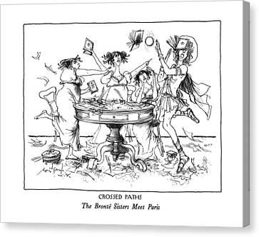 Etc Canvas Print - Crossed Paths The Bronte Sisters Meet Paris by Ronald Searle