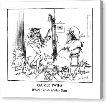 Crossed Paths Whistler Meets Mother Goose Canvas Print by Ronald Searle