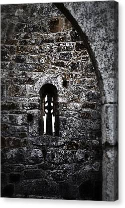 Crosses And Stone Walls At Clonmacnoise Canvas Print by Nadalyn Larsen