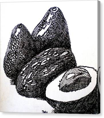 Crosshatched Avocados Canvas Print by Debi Starr