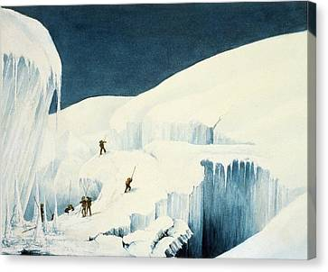 Crossing A Ravine, From A Narrative Canvas Print by English School