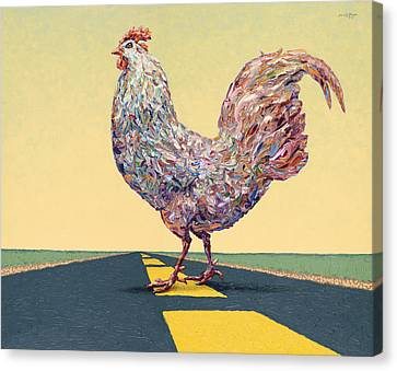 Rooster Canvas Print - Crossing Chicken by James W Johnson