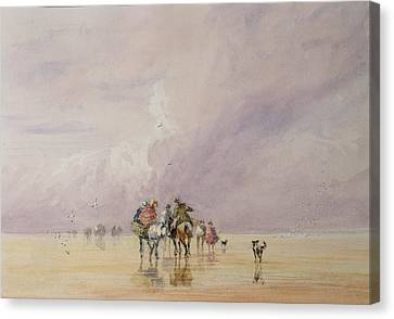 Dog On The Beach Canvas Print - Crossing Lancaster Sands by David Cox