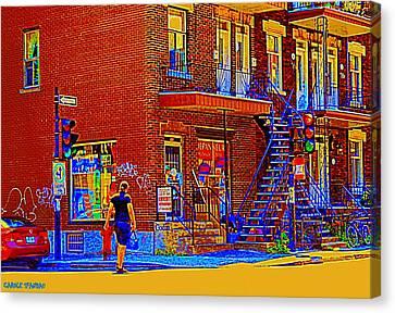 Crossing Laurier Depanneur Maboule Tabagie Biere Et Vin Montreal Street Scene Art By Carole Spandau Canvas Print by Carole Spandau