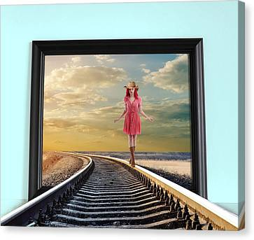 Canvas Print featuring the digital art Crossing Over by Nina Bradica
