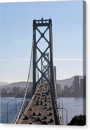 Crossing The Bay Bridge  Canvas Print by Dee  Savage