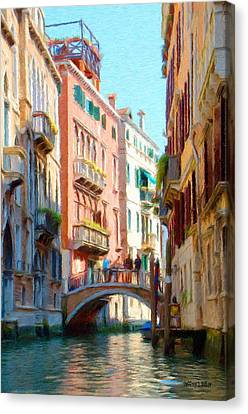 Crossing The Canal Canvas Print by Jeffrey Kolker