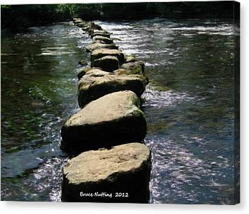 Canvas Print featuring the painting Crossing The Creek by Bruce Nutting