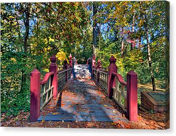 Canvas Print featuring the photograph Crossing The Crim Dell Bridge by Jerry Gammon