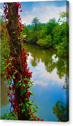 Crossing The Little Tennessee River Canvas Print by Robert J Sadler