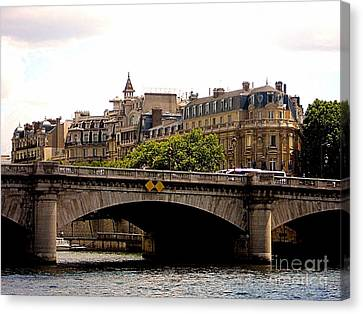 Crossing The Seine Canvas Print by Lauren Leigh Hunter Fine Art Photography