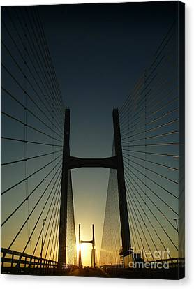 Canvas Print featuring the photograph Crossing The Severn Bridge At Sunset - Cardiff - Wales by Vicki Spindler