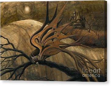 Canvas Print featuring the painting Crossroads by Denise M Cassano