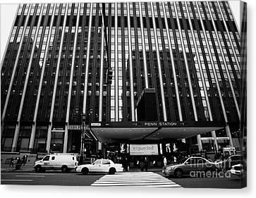 Crosswalk Leading To Penn Station And Madison Square Garden Seventh Avenue New York City Canvas Print by Joe Fox
