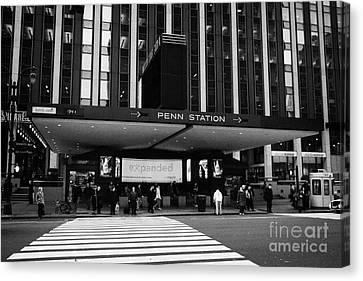 Crosswalk Leading To Penn Station And Madison Square Garden Seventh Avenue New York Canvas Print