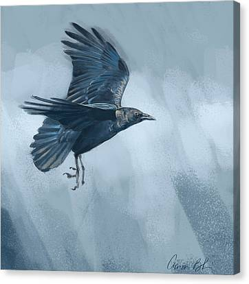 Canvas Print featuring the digital art Crow by Aaron Blaise