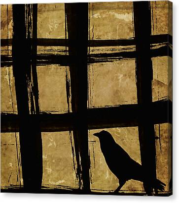 Window Bars Canvas Print - Crow And Golden Light Number 2 by Carol Leigh