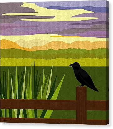 Crow In The Corn Field Canvas Print by Val Arie