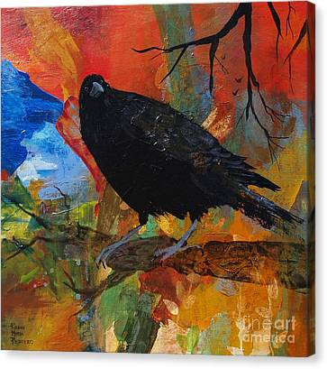 Crow On A Branch Canvas Print by Robin Maria Pedrero