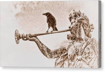 Crow On Trumpet Canvas Print by Henry Kowalski