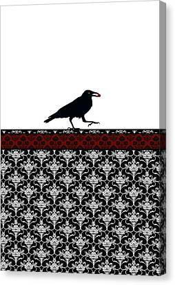 Crow With Paisly Canvas Print by Jenny Armitage