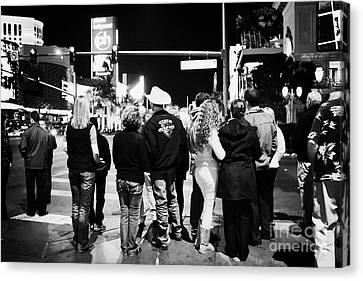 Crosswalk Canvas Print - crowd of people standing waiting for crosswalk lights to change Las Vegas Nevada USA by Joe Fox