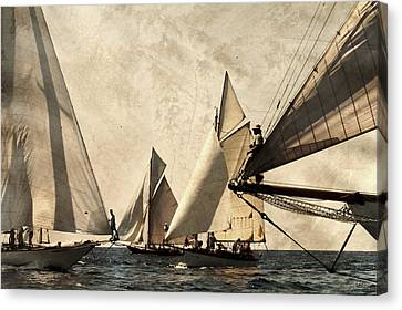 A Vintage Processed Image Of A Sail Race In Port Mahon Menorca - Crowded Sea Canvas Print by Pedro Cardona