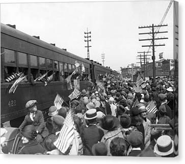 Crowds Cheer Ny Train Service Canvas Print by Underwood Archives