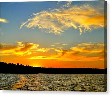 Crown Lake  Sunset  Retired Ahhh Canvas Print by Cindy Croal
