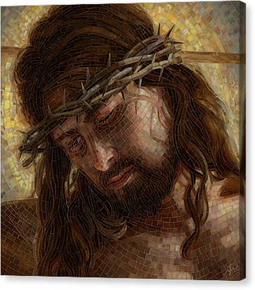 Crucifixion Canvas Print - Crown Of Thorns Glass Mosaic by Mia Tavonatti