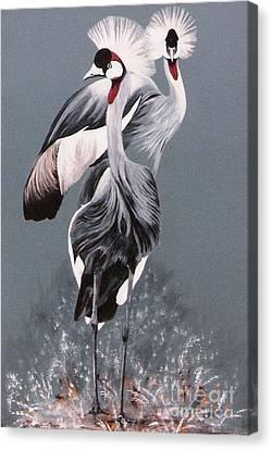 Crowned Cranes Canvas Print by DiDi Higginbotham