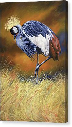 Crane Canvas Print - Crowned by Lucie Bilodeau