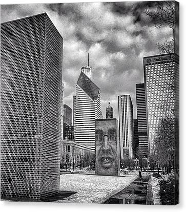 Chicago Crown Fountain Black And White Photo Canvas Print by Paul Velgos