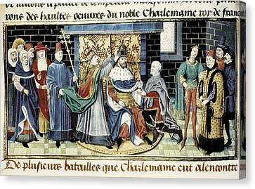 Crowning Of Charlemagne 800 Canvas Print by Everett