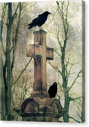 Urban Graveyard Crows Canvas Print