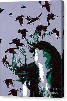 Canvas Print featuring the painting Crows by Denise Deiloh