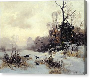 Crows In A Winter Landscape Canvas Print