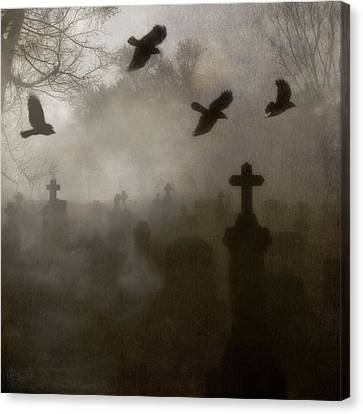 Crows On A Eerie Night Canvas Print by Gothicrow Images
